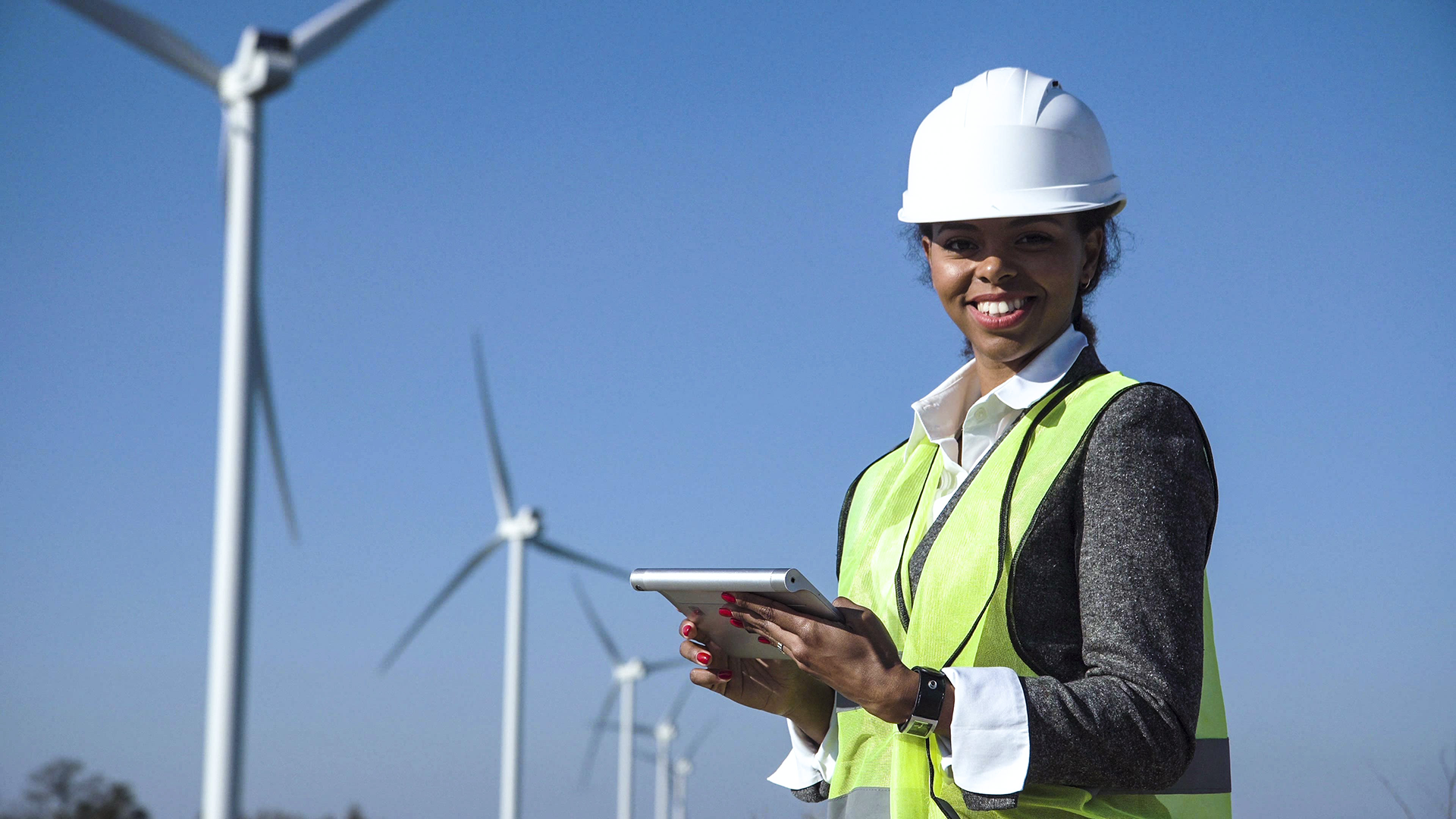 woman working on wind farm